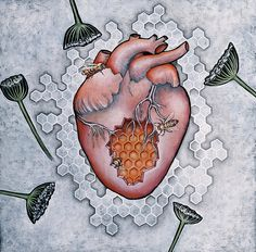 Mon Coeur- Where The Honeybees Live Painting by Sheri Howe