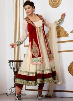 Cream #Net #Jacket #Style #Anarkali Suit