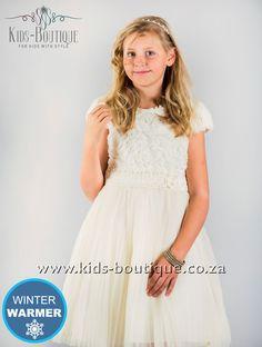 Cream Fur Top Dress With Soft Tulle Flower Girls, Flower Girl Dresses, Kids Boutique, Winter Warmers, Tulle, Girls Dresses, Fur, Cream, Wedding Dresses