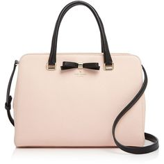 kate spade new york Henderson Street Morgane Satchel (19,810 PHP) ❤ liked on Polyvore featuring bags, handbags, structured handbag, kate spade, bow handbags, pink satchel handbags and kate spade purses