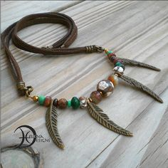 Tribal agate and feather necklace, Feather bib necklace, Hippie necklace, Indian necklace men, Feather chocker, Earthy necklace, Primitive by Helenadesignsart on Etsy
