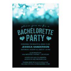 Party Lights Glitter Bachelorette Invite Invitations Invitation Design