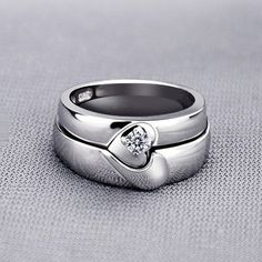 Magnetic Half Heart Shaped Wedding Rings with Custom Engraving