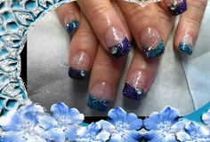 Purple and turquoise glitter.