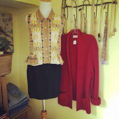 80's tartan & coin blouse + 90's pencil + 80's chunky cardi.