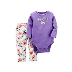 Carters Baby Girls 2pc Graphic LS Bodysuit  Floral Pant Set 9 Months Purple Multi -- Read more at the image link.