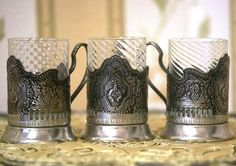 Set of 3 Traditional Russian Tea Glass Holders  by cherryshop, $115.00