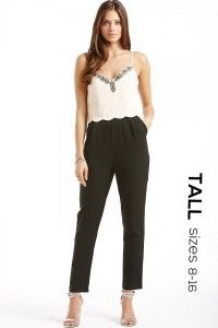 Tall Tall Nude and Black Embellished Scallop Trim Jumpsuit - Tall from Little Mistress UK Clothing For Tall Women, Clothes For Women, Shoes Too Big, Tall Guys, Black Jumpsuit, Jumpsuits For Women, Flare Dress, Fit And Flare, Stylish Outfits