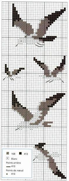 Bird seagull cross stitch.