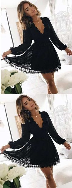 long sleeve lace homecoming dresses,simple black homecoming dresses,lace gowns for tees,sexy  v neck party dresses