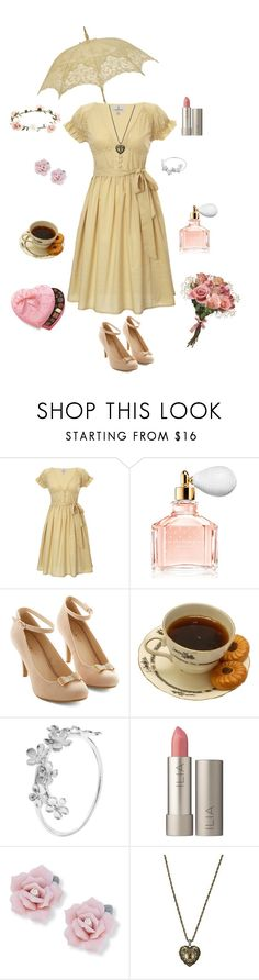 """""""First Kiss"""" by conquistadorofsorts ❤ liked on Polyvore featuring Looking Glass, Guerlain, Alex Monroe, Ilia, Palm Beach Jewelry, FOSSIL, Accessorize and vintage"""