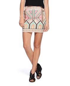 Champagne + Strawberry Embroidered Mini Skirt