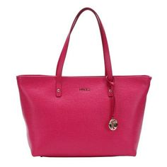Furla Gloss pink leather medium 'Daisy East/West' tote ($220) ❤ liked on Polyvore featuring bags, handbags, tote bags, gloss, hand bags, pink tote, leather hand bags, pink tote bag and leather handbags