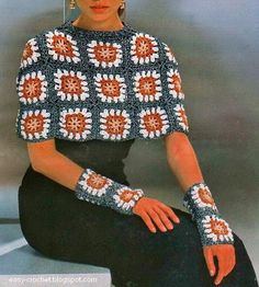Stylish Easy Crochet - granny squares capelet  + fingerless mitts/armwarmers/wristies