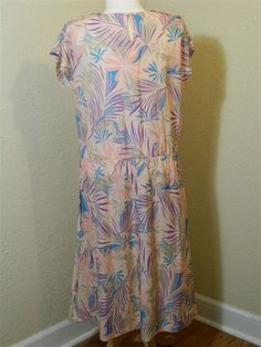 Vintage Plus Size Dress Pink with Pastel Palm Frond Print by VintageBaublesnBits, $35.00