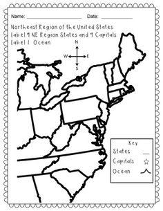 FREE US Northeast Region States & Capitals Maps