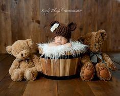 Crochet Newborn Bear Beanie via Etsy.