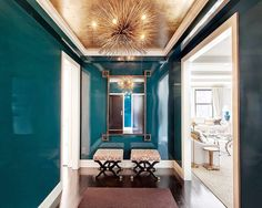 COCOCOZY: GLOSSY WALLS & SHINY CEILINGS - Teal Venetian plaster walls in a NYC Foyer by Lilly Bunn.  Gold ceiling is fab!