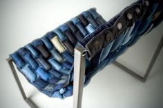 Chairs alone can be pieces of art. This one definitely is, made with recycled denim by Design Squish.