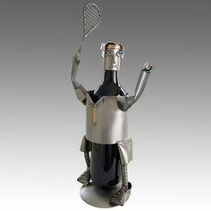 Whimsical Male Tennis Server Metal Wine Bottle Holder