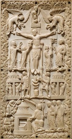 Plaque with the Crucifixion and the Holy Women at the Sepulchre, Elephant ivory, Carolingian, France, ca. Carolingian, The Cloisters, Medieval Art, Christian Art, Religious Art, Art Museum, Holi, Lion Sculpture, Elephant