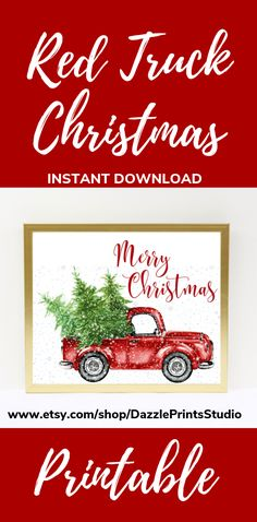 This red Christmas Printable is the perfect addition to your Christmas decorations this Christmas. And with so many ideas to choose from these Christmas Prints can be added to any Christmas theme. Printable Wall Art from Dazzle Prints Studios. Woodland Christmas, Christmas Tree Farm, Nordic Christmas, Rustic Christmas, Christmas Art, Christmas Themes, Christmas Decorations, Three Piece Wall Art, Red Truck Decor