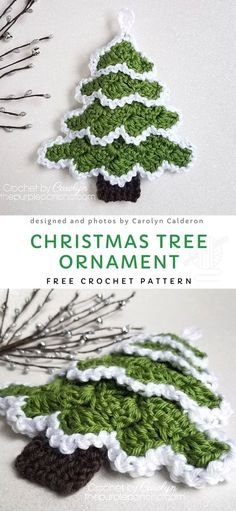 How To Make A Christmas Tree Ornament Free Crochet Pattern This project is a great way to bring Christmas vibe to your house. It requires very small amount of yarn and is very fast to make, so you'll be able to make a bunch of them till Christmas Crochet Tree, Crochet Santa, Crochet Crafts, Crochet Projects, Crochet Angels, Crochet Flowers, Easy Crochet, Crochet Ideas, Crochet Christmas Decorations