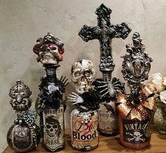 Michelle Butler Designs Decorative Halloween Bottles