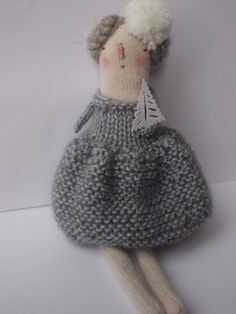 Winter Christmas art doll by maidolls on Etsy, Knitted Dolls, Crochet Dolls, Handmade Soft Toys, Knitted Animals, Christmas Art, Winter Christmas, Soft Dolls, Cute Crochet, Cute Dolls