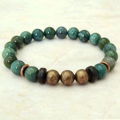 Green India Agate and Copper Healing Bracelet, Mala Bracelet, Energy Bracelet, Stretch Bracelet, Spiritual Jewelry, Yoga Tibetan Meditation