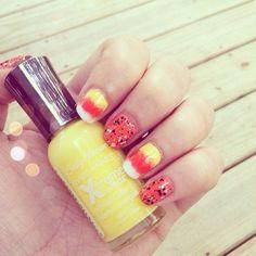 Candy Corn nail art :) i like candy corn