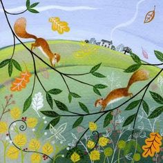 PL-ESK022 Pretty any-occasion greetings card illustrated by Lucy Grossmith with two red squirrels capering amongst the autumn branches