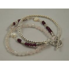 Hill Tribe Silver and Garnet, Rose Quartz, and Freshwater Pearls Bracelet