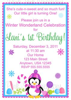 Penguin CandyLand Winter Birthday Invitation  by PinkInkCreation, $13.00