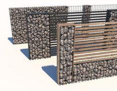 Gabion Fences And Stone Walls Rock Fence Design Usa Landscape Model, Landscape Design, Gabion Retaining Wall, Gabion Fence Ideas, Gabion Baskets, Privacy Fence Designs, Compound Wall, Boundary Walls, Front Fence