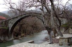 vovoussa stone bridge in vovousa village  Epirus Greece
