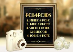 Great Gatsby wedding polaroid guestbook sign. Roaring 20s party printable decoration in Gold and Black Art deco party supplies Strike a pose