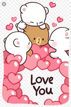 Love you Cute Bear Drawings, Cute Little Drawings, Cute Cartoon Drawings, Kawaii Drawings, Cute Couple Cartoon, Cute Cartoon Pictures, Cute Love Cartoons, Cute Love Pictures, Cute Love Memes