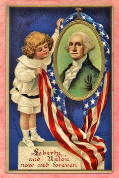 Liberty and Union ~ George Washington ~ vintage Americana postcard with artwork by Ellen Clapsaddle Look Vintage, Vintage Images, Vintage Roses, Vintage Photographs, Vintage Prints, Vintage Greeting Cards, Vintage Postcards, American History, American Flag