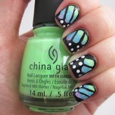 """Butterfly nails -------------------------------------------- @chinaglazeofficial """"Let's Jam"""" """"Lime After Lime"""" and """"What I Like About Blue"""" 