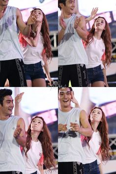 Jessica (SNSD) takes her revenge on Siwon (SuJu).  He started the battle because he wiped his sweat on her arm.