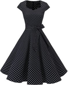 Polka Dot Dresses- Women's Vintage Tea Dress Prom Swing Cocktail Party Dress With Cap-Sleeves Best Party Dresses, Prom Dresses, Dress Prom, Graduation Dresses, Dress Wedding, Vintage Tea Dress, Vintage Dresses, Mode Stage, Vestidos Rockabilly
