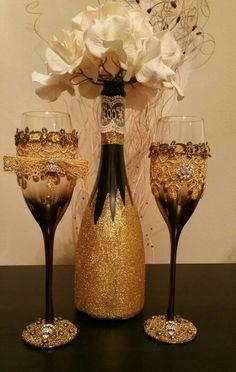 wedding wine flutes hand decorated by me. for sale