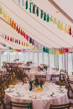 Rainbow Tassel Bunting - Laure De Sagazan Bridal Separates For A Colourful At Home Marquee Wedding With Rainbow Tassle Bunting And Images From Millar Cole Photography