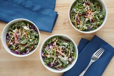 Kale Slaw: A lighter spin on the summer classic, this kale slaw is possibly our new favorite summer salad/side dish. It's more crisp and crunchy than the white gloppy stuff that usually comes on the side of your burger.