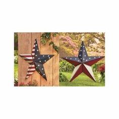 "Americana Patriotic Star Barn Wall Decor 24"" Large Indoor Outdoor Metal Stakes"