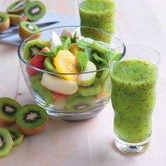 Kiwifruit is rich in vitamin C, which keeps our skin and teeth healthy. For a delicious juice drink try blending together three kiwifruits and two apples with ice.
