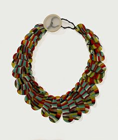 "Erica Rosenfeld - ""Rainbow Line Pill Necklace,"" fused glass"