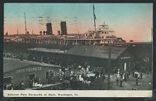 IL Waukegan LITHOGRAPH 1910 SS STEAMER PERE MARQUETTE at DOCK & Smith Fishing Co