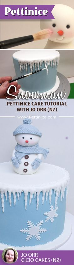 How to make this cute little snowman with icicle cake tutorial from www. Christmas Themed Cake, Christmas Cake Designs, Christmas Cake Decorations, Christmas Cupcakes, Christmas Sweets, Holiday Cakes, Christmas Baking, Christmas Snowman, Cake Decorating Techniques